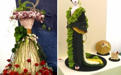 """Für die Gestaltung der Kleider galt das Motto """"In der Oper"""" Der rechte Entwurf wurde mit GOLD prämiert."""
